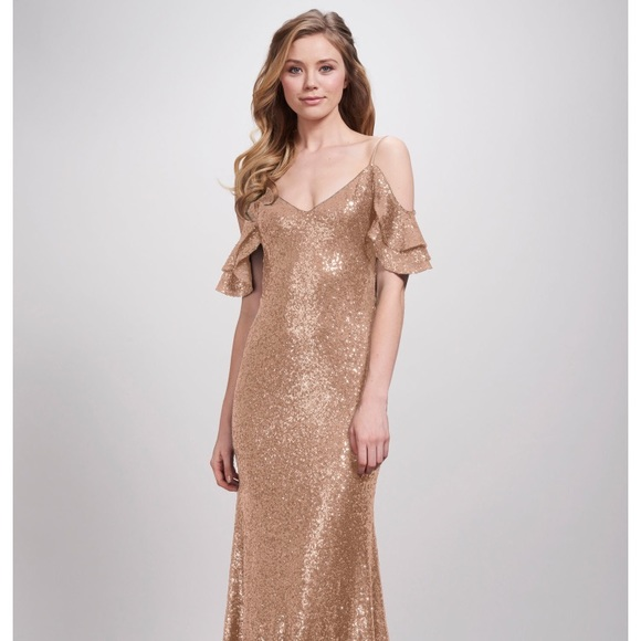 Theia Dresses | Scarlet Gown In Matte Rose Gold Size 8 | Poshmark